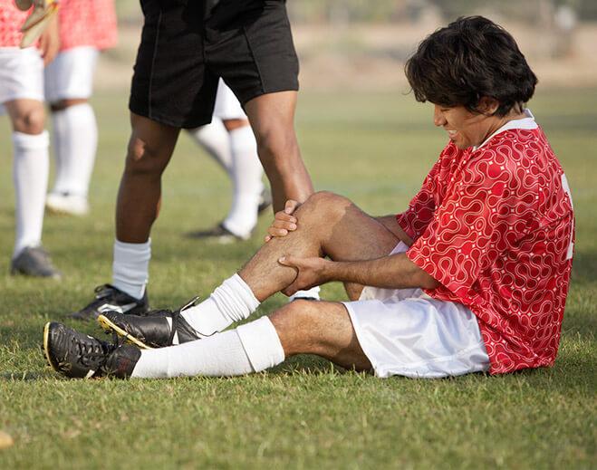 Hurt Soccer player