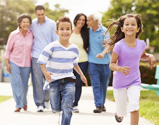 kids running in front of parents