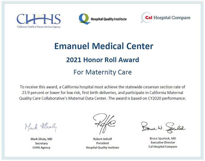 emanuel-medical-center-earns-maternity-honor-roll-award